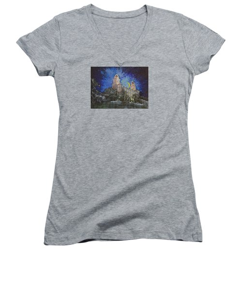 Women's V-Neck T-Shirt (Junior Cut) featuring the painting Crescent Moon by Jane Autry
