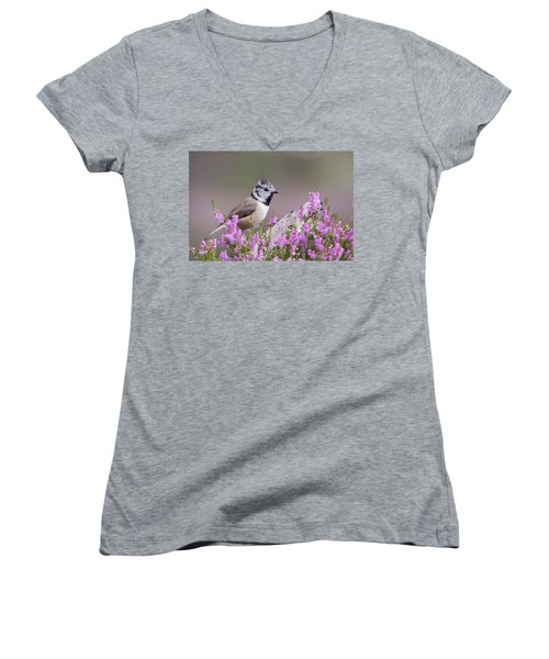 Crested Tit In Heather Women's V-Neck