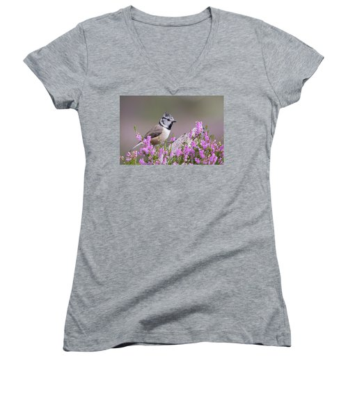 Crested Tit In Heather Women's V-Neck T-Shirt
