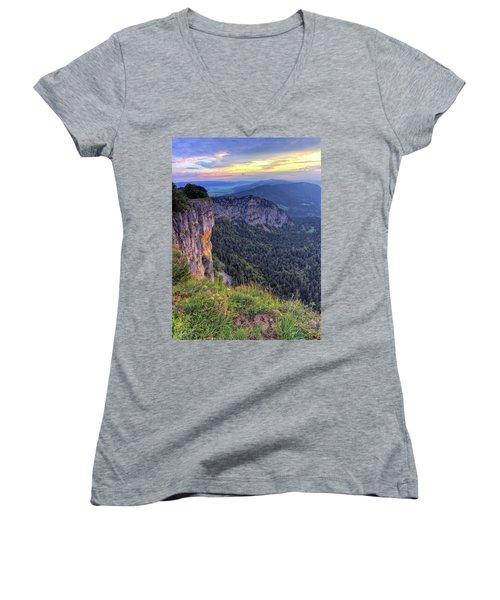 Creux-du-van Or Creux Du Van Rocky Cirque, Neuchatel Canton, Switzerland Women's V-Neck T-Shirt
