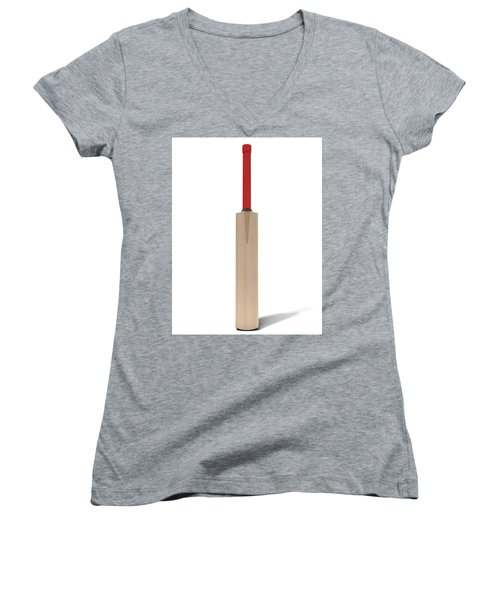 Cricket Bat Women's V-Neck T-Shirt (Junior Cut) by Allan Swart