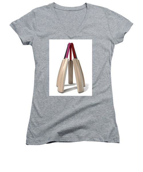 Cricket Bat Circle Women's V-Neck T-Shirt (Junior Cut) by Allan Swart