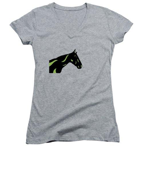 Crimson - Pop Art Horse - Black, Greenery, Purple Women's V-Neck