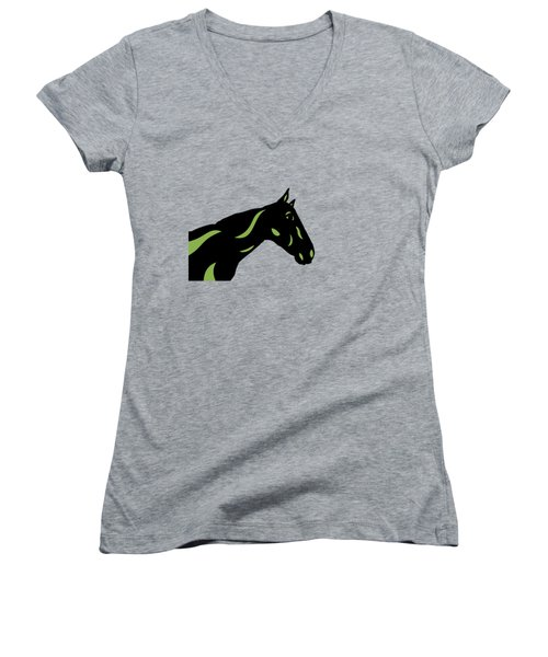 Crimson - Pop Art Horse - Black, Greenery, Purple Women's V-Neck (Athletic Fit)