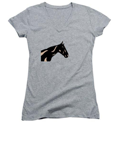 Crimson - Pop Art Horse - Black, Hazelnut, Island Paradise Blue Women's V-Neck