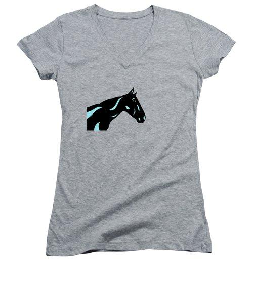 Crimson - Pop Art Horse - Black, Island Paradise Blue, Primrose Yellow Women's V-Neck