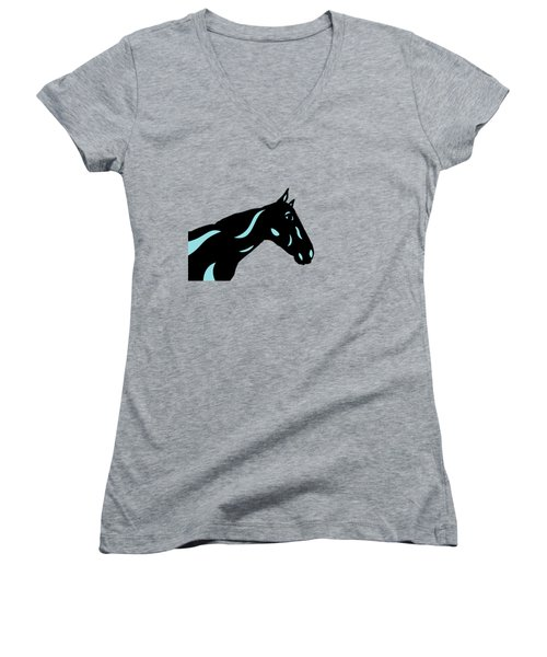Crimson - Pop Art Horse - Black, Island Paradise Blue, Primrose Yellow Women's V-Neck (Athletic Fit)