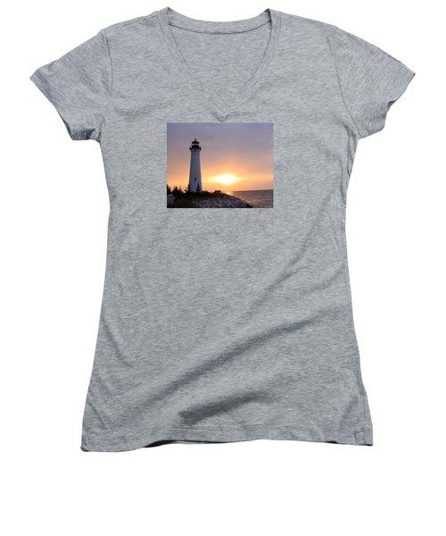 Crisp Point Lighthouse At Sunset Women's V-Neck (Athletic Fit)