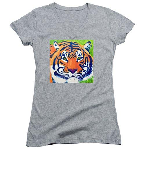 Critically Endangered Sumatran Tiger Women's V-Neck T-Shirt