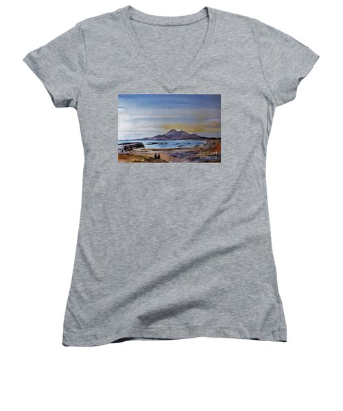 F801  Croagh Patrick From Old Head, Mayo Women's V-Neck