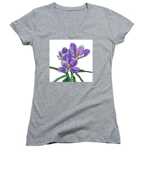 Crocus Women's V-Neck T-Shirt (Junior Cut) by Jamie Downs