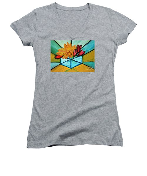 Cubes Women's V-Neck T-Shirt (Junior Cut) by Ramona Matei