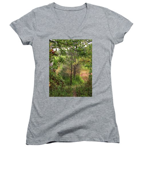Crooked Creek Woods Women's V-Neck T-Shirt (Junior Cut) by Kimberly Mackowski