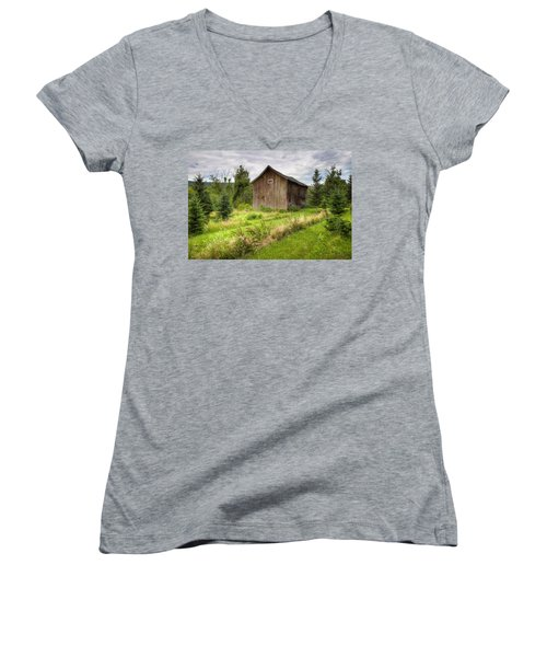 Women's V-Neck T-Shirt (Junior Cut) featuring the photograph Crooked Old Barn On South 21 - Finger Lakes New York State by Gary Heller