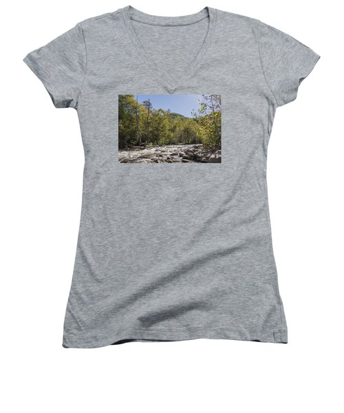 Crooked Tree Curve Women's V-Neck T-Shirt (Junior Cut) by Ricky Dean