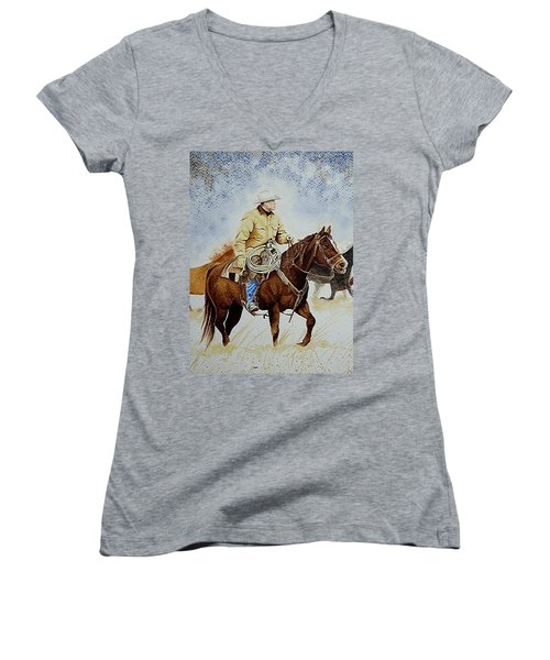 Cropped Ranch Rider Women's V-Neck T-Shirt (Junior Cut) by Jimmy Smith