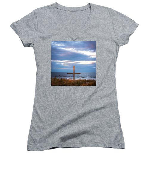 Women's V-Neck T-Shirt (Junior Cut) featuring the photograph Cross Light Square by Terry DeLuco