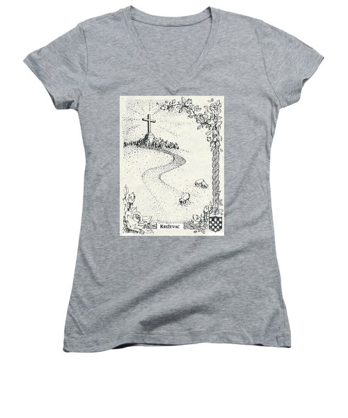 Women's V-Neck T-Shirt (Junior Cut) featuring the drawing Cross Mt, Medjugorje  by Christina Verdgeline