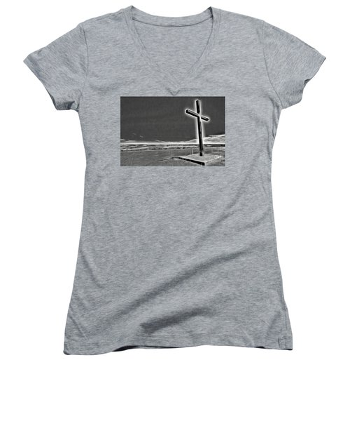 Women's V-Neck T-Shirt (Junior Cut) featuring the photograph Cross On The Hill V2 by Douglas Barnard