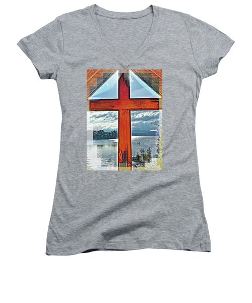 Cross Window Lake View  Women's V-Neck (Athletic Fit)