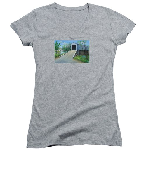 Crossing At The Covered Bridge Women's V-Neck T-Shirt (Junior Cut) by Oz Freedgood