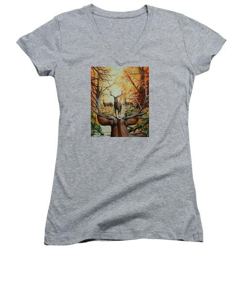 Crossing Paths Women's V-Neck T-Shirt (Junior Cut) by Ruanna Sion Shadd a'Dann'l Yoder