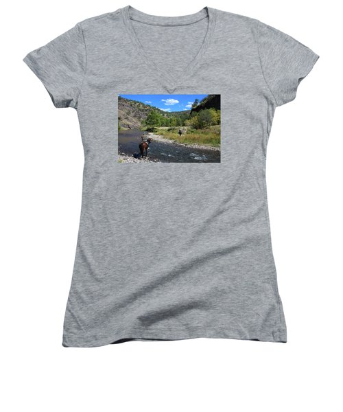 Crossing The Gila On Horseback Women's V-Neck