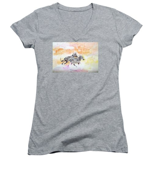 Crossing The River. Women's V-Neck T-Shirt (Junior Cut) by Khalid Saeed