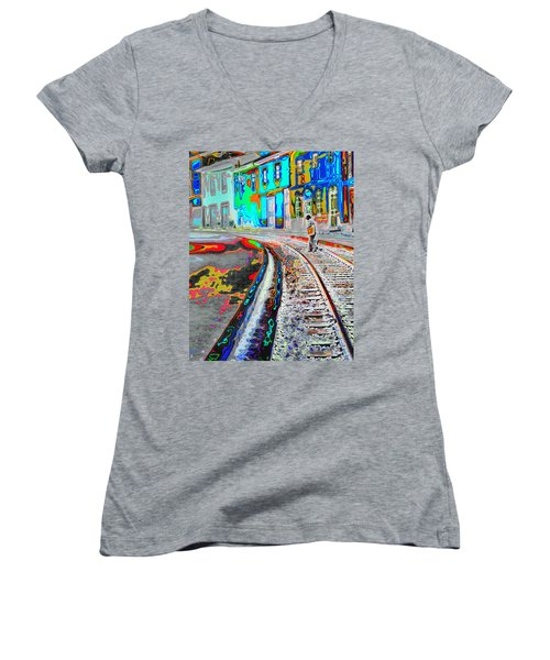 Crossing The Tracks Women's V-Neck