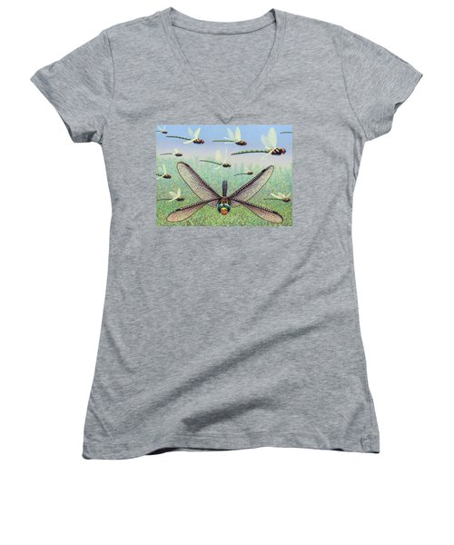 Women's V-Neck T-Shirt (Junior Cut) featuring the painting Crossways by James W Johnson