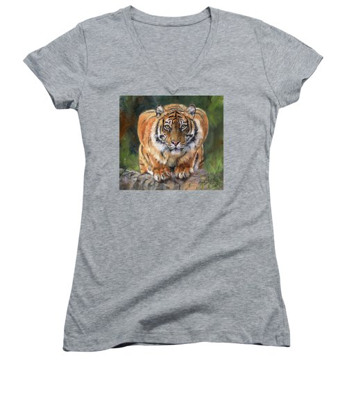 Women's V-Neck T-Shirt (Junior Cut) featuring the painting Crouching Tiger by David Stribbling