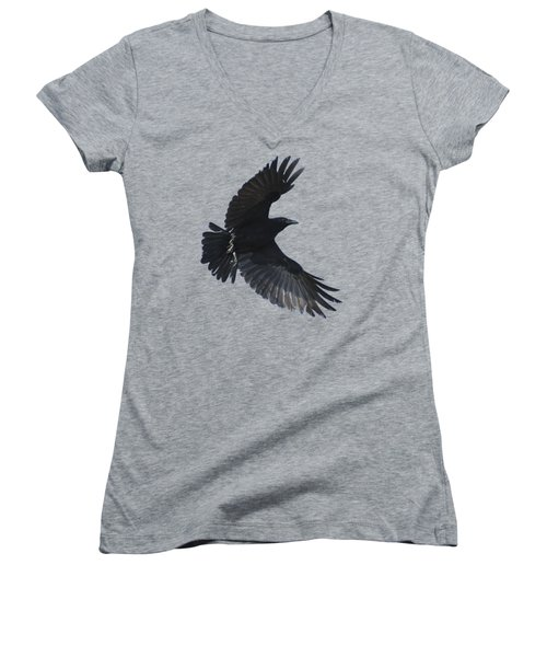 Women's V-Neck T-Shirt (Junior Cut) featuring the photograph Crow In Flight by Bradford Martin