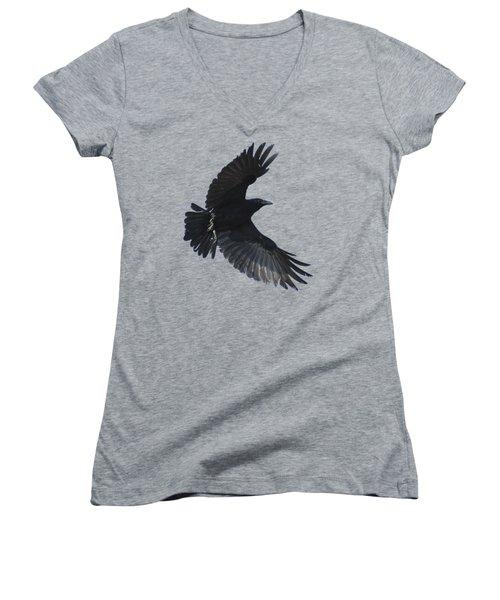 Crow In Flight Women's V-Neck T-Shirt (Junior Cut) by Bradford Martin