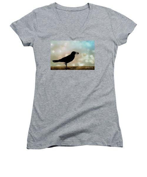 Women's V-Neck T-Shirt (Junior Cut) featuring the photograph Crow With Pistachio by Benanne Stiens