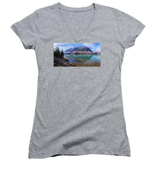 Women's V-Neck T-Shirt (Junior Cut) featuring the photograph Crowfoot Reflection by Chad Dutson