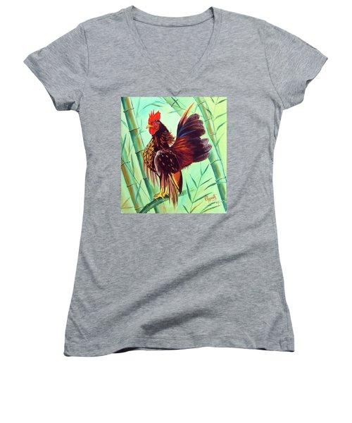 Crown Of The Serama Chicken Women's V-Neck T-Shirt (Junior Cut) by Ragunath Venkatraman