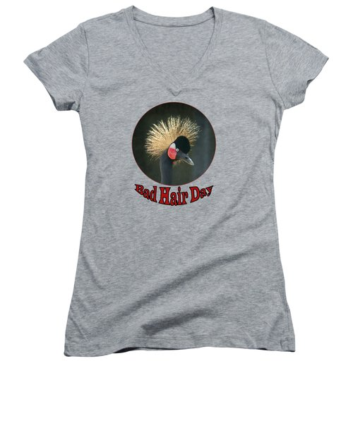 Crowned Crane - Bad Hair Day - Transparent Women's V-Neck (Athletic Fit)