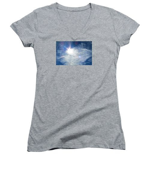 Women's V-Neck T-Shirt (Junior Cut) featuring the photograph Crows Above by Brenda Pressnall