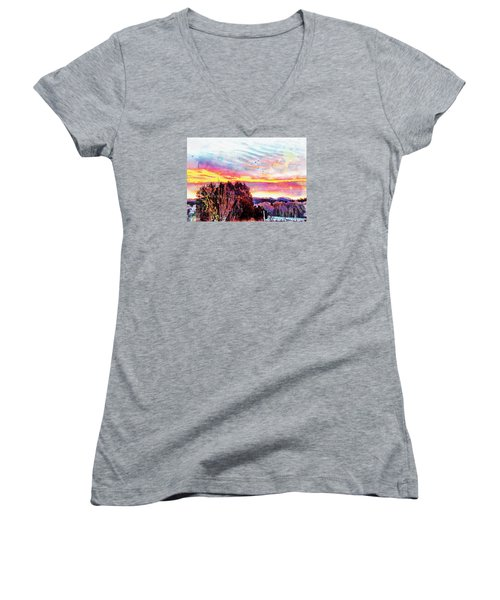 Women's V-Neck T-Shirt (Junior Cut) featuring the photograph Crows Over Pre Dawn El Valle by Anastasia Savage Ealy