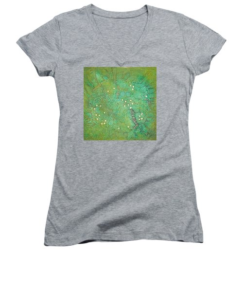 Cruciferous Flower Women's V-Neck T-Shirt (Junior Cut) by Bernard Goodman