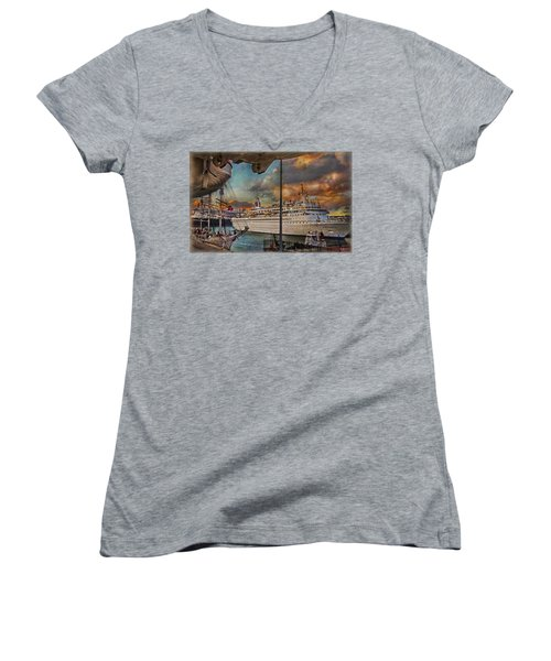 Cruise Port Women's V-Neck T-Shirt (Junior Cut) by Hanny Heim