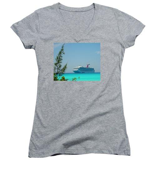 Cruise Ship At Half Moon Cay Women's V-Neck