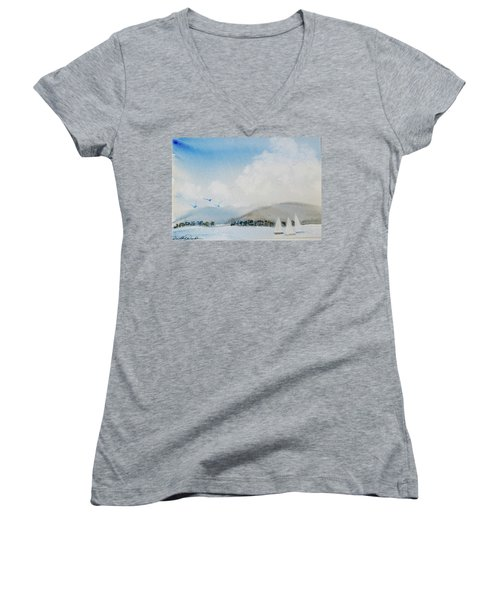 Women's V-Neck featuring the painting Cruising In Company Along The Tasmania Coast  by Dorothy Darden