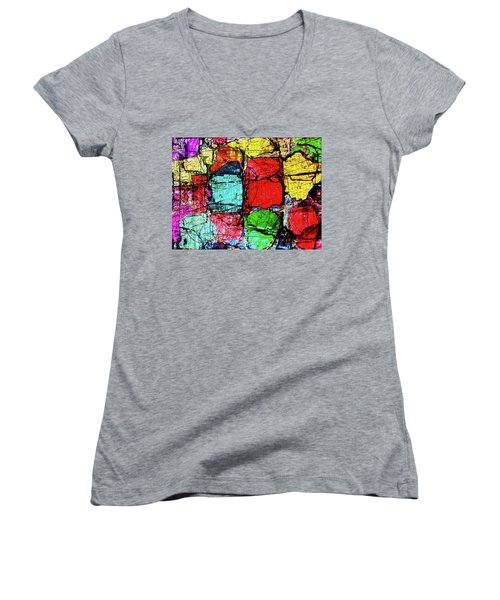 Crumbling Stone Wall Women's V-Neck T-Shirt