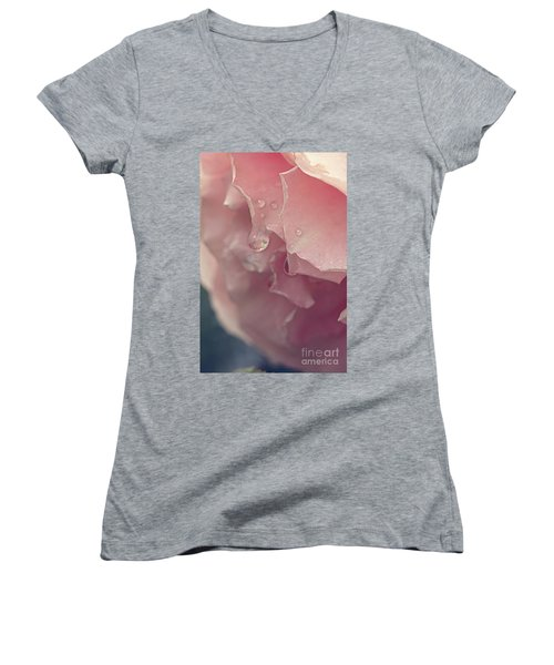 Women's V-Neck T-Shirt featuring the photograph Crying In The Rain by Linda Lees