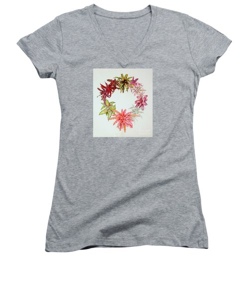 Cryptanthus Wreath Women's V-Neck (Athletic Fit)