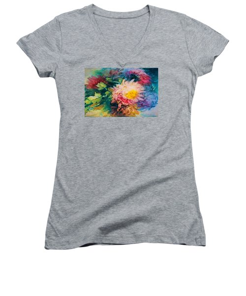 Chrysanthemums Women's V-Neck (Athletic Fit)
