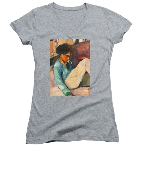 Women's V-Neck T-Shirt (Junior Cut) featuring the painting Crystal by Daun Soden-Greene