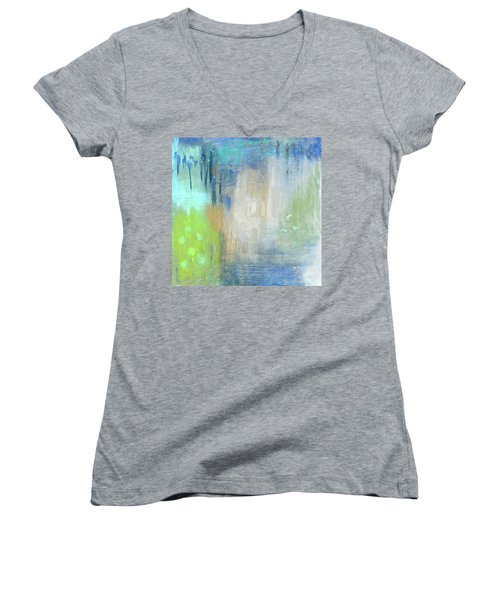 Women's V-Neck T-Shirt (Junior Cut) featuring the painting Crystal Deep  by Michal Mitak Mahgerefteh