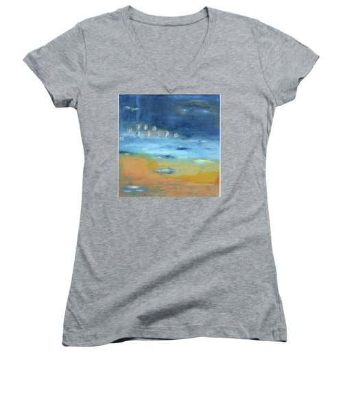 Women's V-Neck T-Shirt (Junior Cut) featuring the painting Crystal Deep Waters by Michal Mitak Mahgerefteh